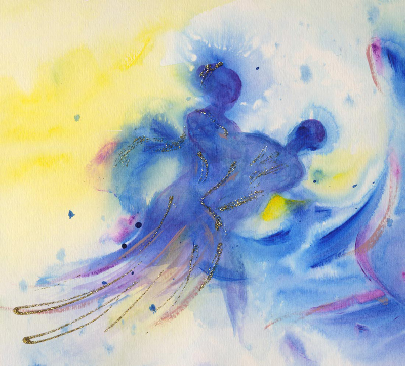 Ballroom Dancing Water Color Paintings